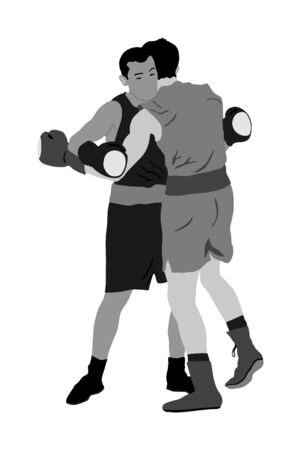 Two boxers in ring vector illustration isolated on white background. Strong fighters battle spectacle event. Martial arts sport. Courage of pride and skill. Old fight Olympic discipline.
