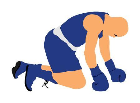 Boxe KO comptant le boxeur sur l'illustration vectorielle au sol. Moment stressant. Sport martial. Perte de conscience après un coup de poing fort. Boxer sur les genoux. Le combattant perd le match