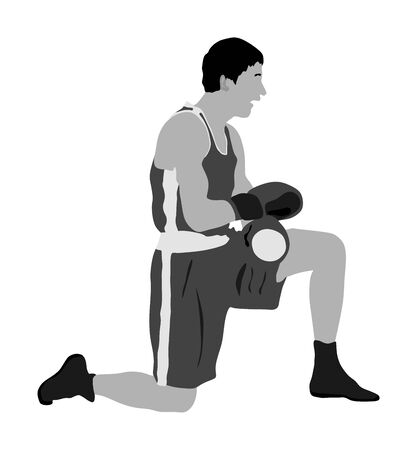 Boxing knockout counting boxer on the ground vector illustration. Stressful moment. Martial sport. Losing of consciousness after strong punch stroke. Boxer on the knees. Fighter loses match