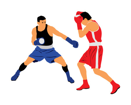 Two boxers in ring vector illustration isolated on white background. Strong fighter. Martial arts.