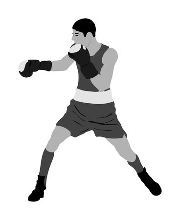 Boxer in ring vector illustration isolated on white background. Strong fighter. Direct kick. Sportsman on training. Sparing. Martial skills demonstration. Boxing sport spectacle event. Kick avoidance