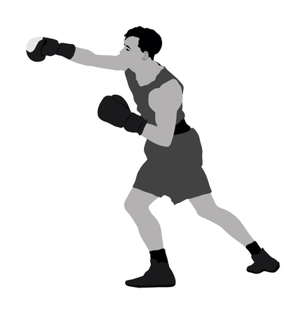 Boxer in ring vector illustration isolated on white background. Direct kick. Illustration
