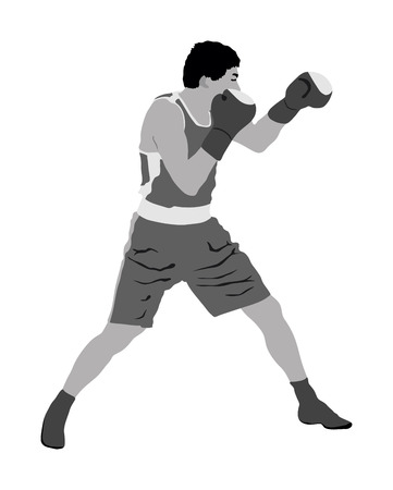 Boxer in ring vector illustration isolated on white background. 矢量图像