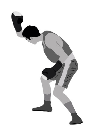 Boxer in ring vector illustration isolated on white background. Block and uppercut. Çizim