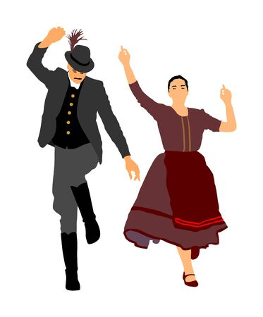 Hungarian folk dancers couple vector illustration. Germany folk dancer couple in love. Austrian folk dancers couple. East Europe folklore. Balkan folk dancing. Traditional wedding folklore event. Banque d'images - 129271070