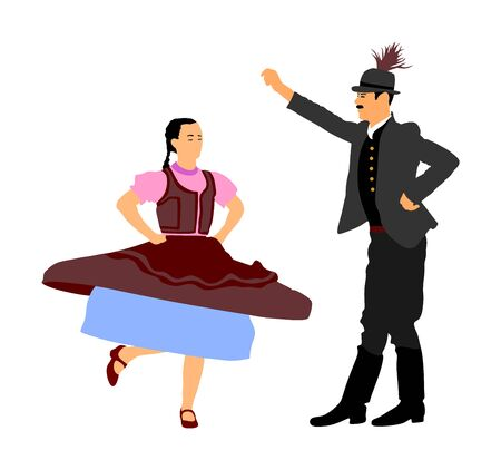 Hungarian folk dancers couple vector illustration. Germany folk dancer couple in love. Austrian folk dancers couple. East Europe folklore. Balkan folk dancing. Traditional wedding folklore event. Banque d'images - 129270617