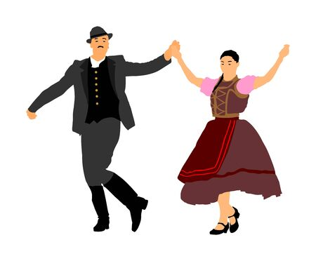 Hungarian folk dancers couple vector illustration. Germany folk dancer couple in love. Austrian folk dancers couple. East Europe folklore. Balkan folk dancing. Traditional wedding folklore event. Фото со стока - 129271066