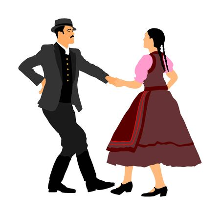 Hungarian folk dancers couple vector illustration. Germany folk dancer couple in love. Austrian folk dancers couple. East Europe folklore. Balkan folk dancing. Traditional wedding folklore event. Фото со стока - 129271065