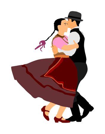 Hungarian folk dancers couple vector illustration. Germany folk dancer couple in love. Austrian folk dancers couple. East Europe folklore. Balkan folk dancing. Traditional wedding folklore event. Ilustracja