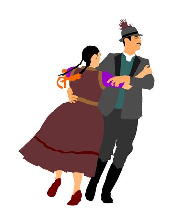 Hungarian folk dancers couple vector illustration. Germany folk dancer couple in love. Austrian folk dancers couple. East Europe folklore. Balkan folk dancing. Traditional wedding folklore event. Фото со стока - 129271072