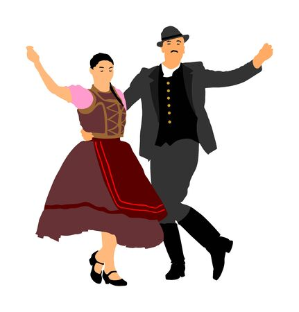 Hungarian folk dancers couple vector illustration. Germany folk dancer couple in love. Austrian folk dancers couple. East Europe folklore. Balkan folk dancing. Traditional wedding folklore event. Banque d'images - 129271073