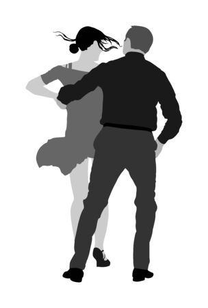 Elegant Latino dancers couple vector illustration isolated on white background. Mature tango dancing people in ballroom night event. Senior dancer party. Tango dance. Closeness and love concept. Иллюстрация