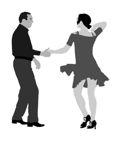 Elegant Latino dancers couple vector illustration isolated on white background. Mature tango dancing people in ballroom night event. Senior dancer party. Tango dance. Closeness and love concept. Illusztráció