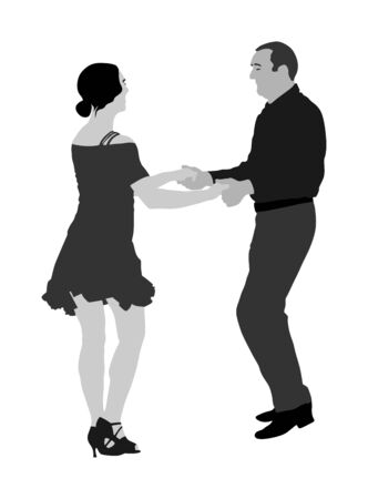 Elegant Latino dancers couple vector illustration isolated on white background. Mature tango dancing people in ballroom night event. Senior dancer party. Tango dance. Closeness and love concept. Foto de archivo - 129271082