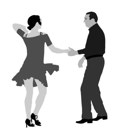 Elegant Latino dancers couple vector illustration isolated on white background. Mature tango dancing people in ballroom night event. Senior dancer party. Tango dance. Closeness and love concept. Illustration