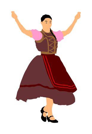 Csardas dancer vector illustration. Folklore Hungary. Bavarian woman on Octobarfest. Polka dance performer. Balkan folk dance. Europe traditional festival attraction. Vintage dressed woman from Europe