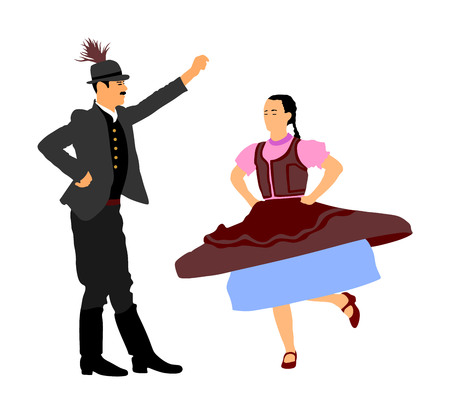 Hungarian folk dancers couple vector. Germany folk dancers couple. Austrian folk dancers couple. East Europe folklore. Couple in love dancing Balkan folk. Folklore event on wedding ceremony. Ilustração