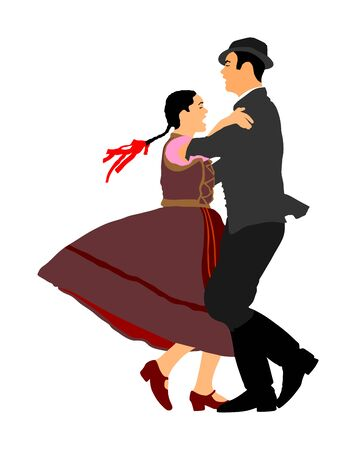 Hungarian folk dancers couple vector illustration. Germany folk dancer couple in love. Austrian folk dancers couple. East Europe folklore. Balkan folk dancing. Traditional wedding folklore event. Çizim