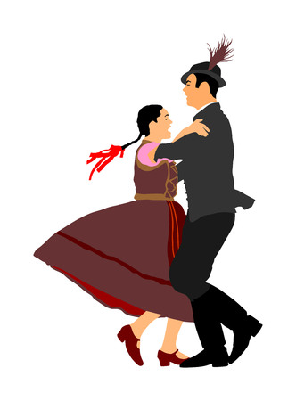 Hungarian folk dancers couple vector. Germany folk dancers couple. Austrian folk dancers couple. East Europe folklore. Couple in love dancing Balkan folk. Folklore event on wedding ceremony.
