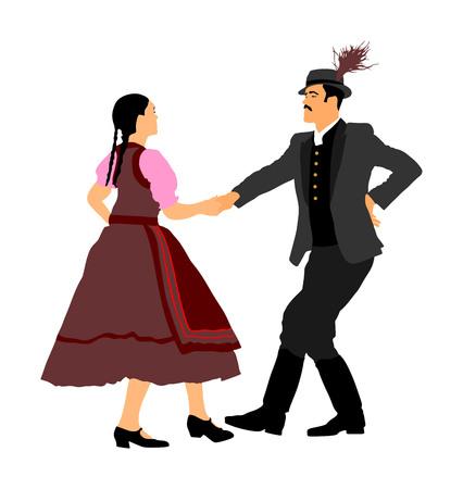 Hungarian folk dancers couple vector. Germany folk dancers couple. Austrian folk dancers couple. East Europe folklore. Couple in love dancing Balkan folk. Folklore event on wedding ceremony. 일러스트