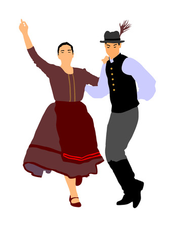 Hungarian folk dancers couple vector. Germany folk dancers couple. Austrian folk dancers couple. East Europe folklore. Couple in love dancing Balkan folk. Folklore event on wedding ceremony. Illustration