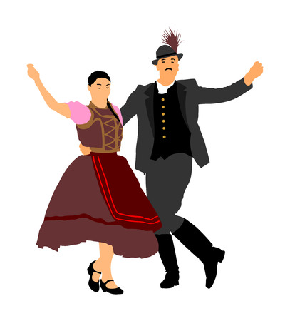 Hungarian folk dancers couple vector. Germany folk dancers couple. Austrian folk dancers couple. East Europe folklore. Illustration