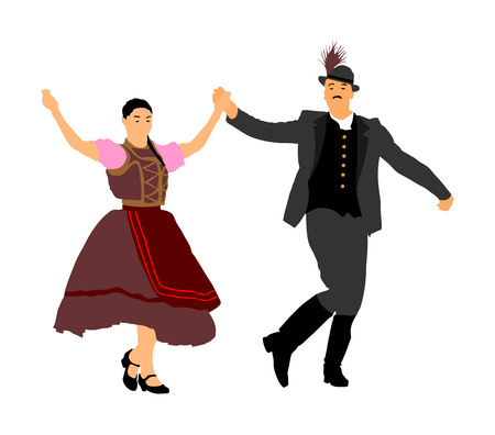 Hungarian folk dancers couple vector. Germany folk dancers couple. Austrian folk dancers couple.
