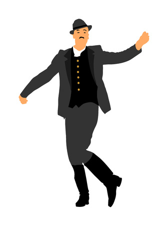 Csardas dancer vector illustration. Folklore of Hungary. Bavarian man on October fest. Polka dance performer.  East Europe traditional festival attraction. Man dancing wedding dance. Balkan culture.