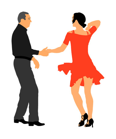 Elegant Latino dancers couple vector illustration isolated on white background. Mature tango dancing people in ballroom night event. Senior dancer party. Tango dance. Closeness and love concept. Vektorové ilustrace