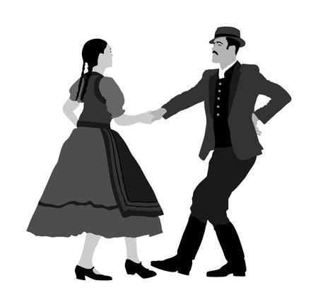 Danseurs folkloriques hongrois couple illustration vectorielle. Couple de danseurs folkloriques allemands amoureux. Couple de danseurs folkloriques autrichiens. folklore de l'Europe de l'Est. Danse folklorique des Balkans. Événement folklorique de mariage traditionnel.