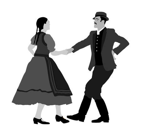 Hungarian folk dancers couple vector illustration. Germany folk dancer couple in love. Austrian folk dancers couple. East Europe folklore. Balkan folk dancing. Traditional wedding folklore event. Stock Illustratie