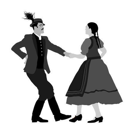 Hungarian folk dancers couple vector. Germany folk dancers couple. Austrian folk dancers couple. East Europe folklore. Couple in love dancing Balkan folk. Folklore event on wedding ceremony. Illustration