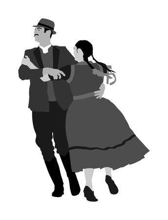 Couple dancing in Monochrome Illustration.