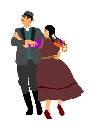 Hungarian folk dancers couple vector. Germany folk dancers couple. Austrian folk dancers couple. East Europe folklore. Couple in love dancing Balkan folk. Folklore event on wedding ceremony. Çizim