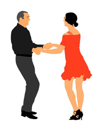Elegant latin dancers couple vector illustration isolated on white background. Mature tango dancing people in ballroom night event.