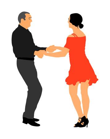 Elegante lateinische Tänzerpaarvektorillustration lokalisiert auf weißem Hintergrund. Reife Tangotanzleute im Ballsaalnachtereignis.