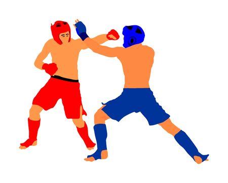 Dos luchadores de mma vector ilustración aislado sobre fondo blanco. Batalla de artes marciales mixtas. Lucha libre, boxeo, judo, karate y otras habilidades. Concepto de autodefensa. Ilustración de vector