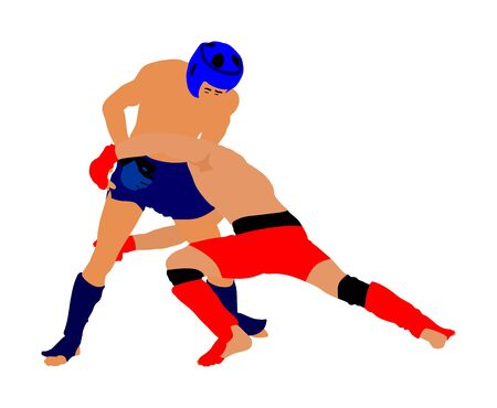 Two MMA fighters vector illustration isolated on white background. Mixed martial arts battle. Wrestling, boxing, judo, karate and other skills. Self defense concept. Battle in octagon.