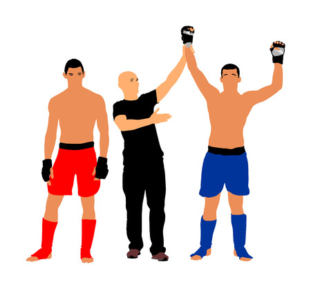 The referee declares the winner, fighter vector illustration.Referee proclaims winner of the fighting match. MMA fighters, boxing match.
