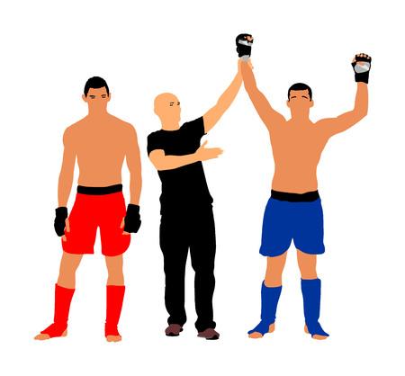Der Schiedsrichter erklärt den Sieger, Kämpfervektorillustration. Schiedsrichter proklamiert Sieger des kämpfenden Matchs. MMA-Kämpfer, Boxkampf.