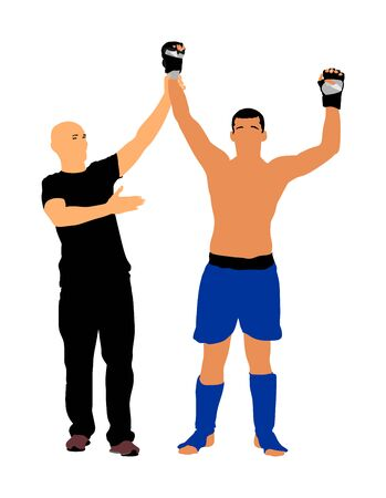 Referee declares the winner of the match, fighter vector illustration. Referee proclaims winner. Champion celebrate win. Unanimous decision of the judge. MMA boxer fighter winner celebrates victory.