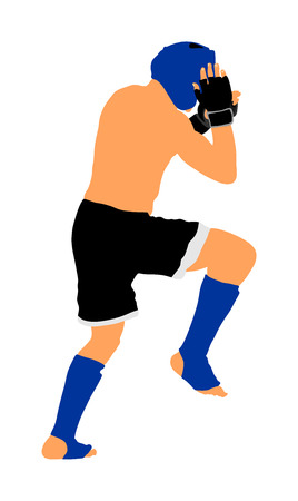 MMA fighter vector illustration isolated on white background. Mixed martial arts battle. Wrestling, boxing, judo, karate and other skills. Self defense concept. Modern warrior. 向量圖像