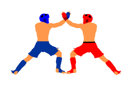 Two mma fighters vector illustration isolated on white background. Mixed martial arts battle. Wrestling, boxing, judo, karate and other skills. Self defense concept.