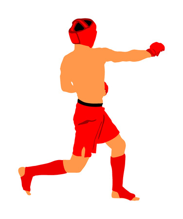Mma fighter vector illustration isolated on white background. Mixed martial arts battle. Wrestling, boxing, judo, karate and other skills. Self defense concept.