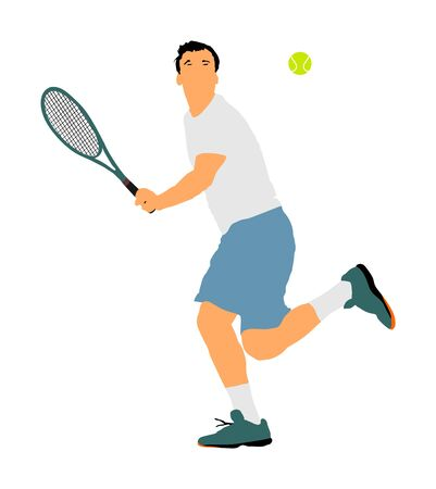 Man tennis player vector illustration isolated on white background. Sport tennis silhouette isolated. Man recreation after work, anti stress therapy.
