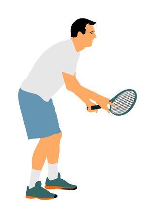 Mann-Tennisspieler-Vektor-Illustration isoliert auf weißem Hintergrund. Sport-Tennis-Silhouette isoliert. Mannerholung nach der Arbeit, Anti-Stress-Therapie.