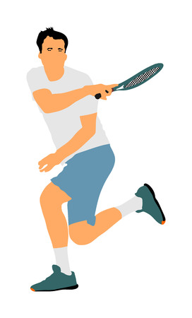 Tennis player in action vector illustration isolated on white background.