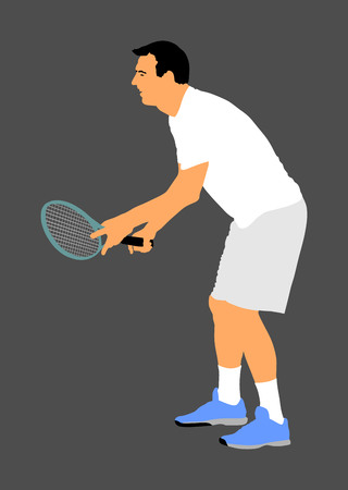 Tennis player in action vector illustration isolated on background.