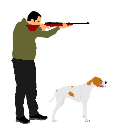 Hunter with dog aiming with his rifle vector illustration. Outdoor hunting scene. Pointer looking on prey. Man hunting isolated on white. Synergy partnership. Traditional hobby. Best friend in action.