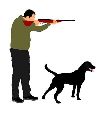 Hunter with dog aiming with his rifle vector. Outdoor hunting scene.